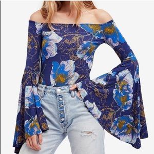 •Free People• Floral Bell Sleeve Top